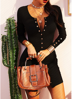 Solido Aderente Maniche lunghe Mini Piccolo nero Casuale Vestiti di moda
