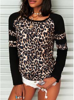 Leopard Rund hals Lange ærmer Casual T-shirt