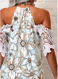 Floral Encaje Impresión Vestidos sueltos Mangas 1/2 Mini Casual Túnica Vestidos de moda