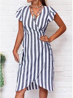 raya Vestido línea A Manga Corta Asimétrico Casual Elegante Bolero Vestidos de moda
