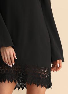 Nad kolanem Okrągły Dekolt Szyfon Koronka Długie rękawy Modne Suknie