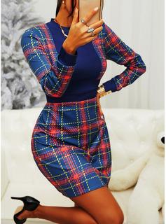 Pläd Åtsittande Långa ärmar Mini Fritids Elegant Modeklänningar