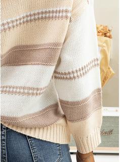 V-hals Avslappet Color Block Tykk strikket Gensere