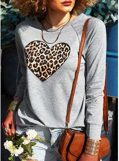 Leopard Hjerte Rund hals Lange ærmer Sweatshirts