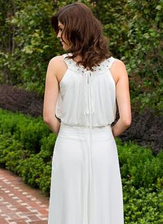 A-linjeformat Rund-urringning Golvlång Chiffong Aftonklänning med Rufsar Spets Beading Paljetter