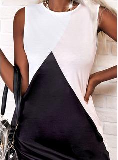 Color Block Shift Sleeveless Mini Elegant Dresses