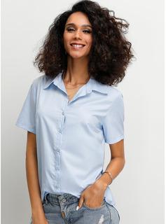 Jednolity Krótkie Rękawy Poliester Lapel Koszula Bluzki Bluzki