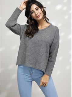 Punto De Cable Sólido poliéster Cuello en V Suéter Suéteres