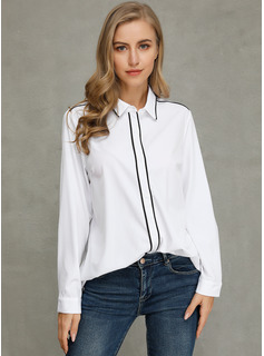 Solid Lange ærmer Polyester Lapel Shirt Skjorter Bluser