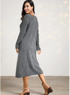 Kabel Dzianina Jednolity Poliester Dekolt w kształcie litery V Pulower Swetry Suknie Swetry
