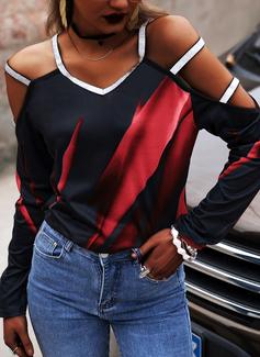 Imprimeu Payetler Soğuk omuz Mâneci Lungi gündelik Sexy Bluzlar