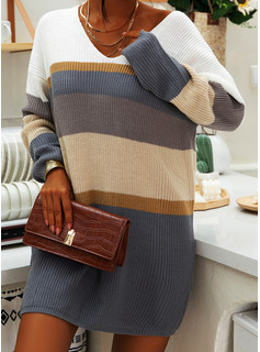 V-Neck Casual Long Color Block Striped Sweaters