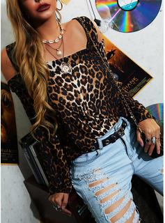 Leopard Kolde skulder Lange ærmer Casual