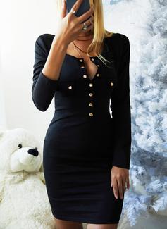 Solid Bodycon Lange ærmer Midi Den lille sorte Casual Blyant Mode kjoler