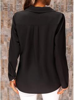 Solid V-hals Lange ærmer Casual Shirt Skjorter