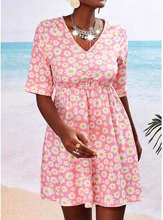Floral Impresión Vestido línea A Mangas 1/2 Mini Casual Patinador Vestidos de moda
