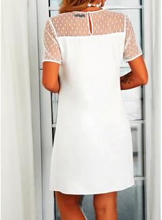 Sólido Vestidos sueltos Manga Corta Midi Casual Túnica Vestidos de moda
