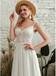 A-Line V-neck Floor-Length Wedding Dress With Beading Split Front