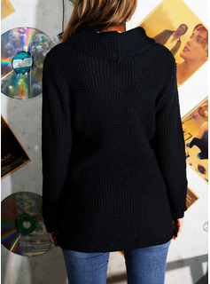 Cowl Neck Casual Solid Sweaters