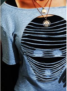 Print One-Shoulder Lange ærmer Casual Skjorter
