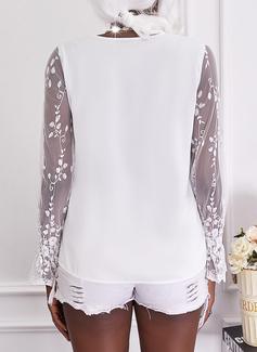 Solid V-Neck Long Sleeves Elegant
