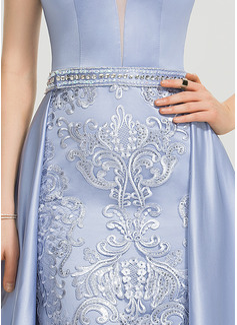 Aライン Vネック スウィープ・トレーン サテン プロム用ドレス とともに ビーズ スパンコール