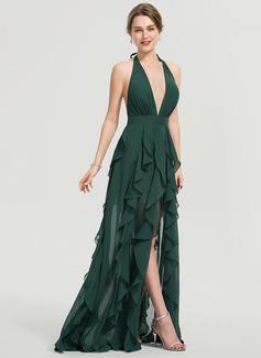 A-Line Halter V-neck Floor-Length Chiffon Prom Dresses With Split Front Cascading Ruffles