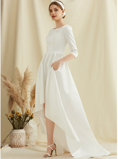 A-Line Scoop Neck Asymmetrical Satin Wedding Dress With Pockets