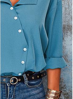 Sólido Solapa Manga Larga Con Botones Casual Camisas Blusas