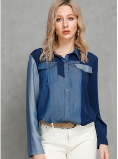 Długie rękawy Bawełna Lapel Koszula Bluzki Bluzki