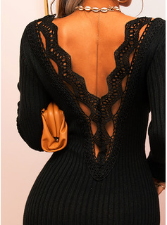 Lace Solid Bodycon Long Sleeves Midi Little Black Casual Elegant Pencil Dresses