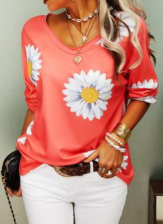 Floral Print V-Neck Long Sleeves Casual T-shirt