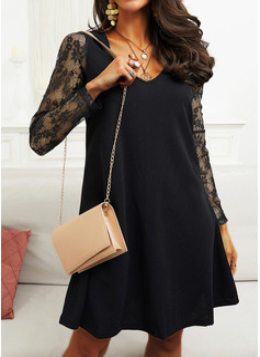 Spets Solid Shiftklänningar Långa ärmar Mini Den lilla svarta Elegant Modeklänningar