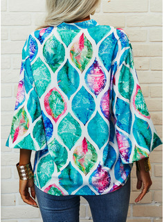 Floral Impresión Cuello en V Mangas 3/4 Con Botones Casual Camisas Blusas