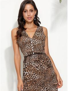 knælange V-hals Polyester Button/Print Uden Ærmer Mode kjoler
