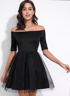 Over Knee Off-shoulder Polyester Solid 1/2 Ærmer Mode kjoler