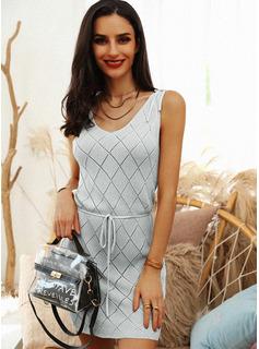 Solido A trapezio Senza maniche Mini Casuale Vestiti di moda