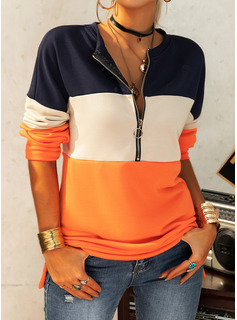 Color Block V-Neck Long Sleeves Sweatshirt