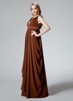 Robe Empire Col V Longueur ras du sol Mousseline Robe de demoiselle d'honneur - enceinte avec Plissé