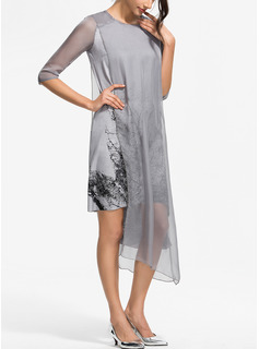 Druck Etuikleider 3/4 Ärmel Asymmetrisch Lässige Kleidung Elegant Modekleider