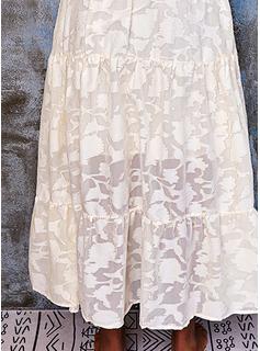 Blonder Solid backless Kjole med A-linje 1/2 ærmer Maxi Casual Ferie skater Mode kjoler
