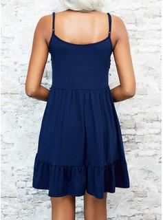 Sólido Vestido línea A Sin mangas Mini Casual Patinador Vestidos de moda