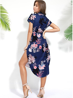 Asimétrico Escote en V poliéster Manga corta Impresión/Floral Vestidos de moda