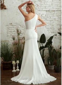 Forme Sirène/Trompette Seule-épaule Balayage/Pinceau train Robe de mariée