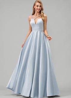 A-Line V-neck Floor-Length Satin Evening Dress