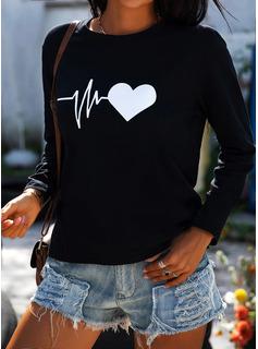 Print Rund-ringning Långa ärmar Fritids t-shirt