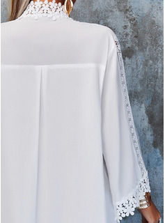Encaje Sólido Vestidos sueltos Mangas 3/4 Mini Elegante Vestidos de moda