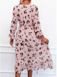 Floral Print A-line Long Sleeves Midi Casual Skater Wrap Dresses