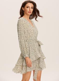 Sukienka Trapezowa Dekolt w kształcie litery V Poliester Modne Suknie