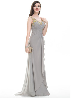 A-Line/Princess V-neck Sweep Train Chiffon Prom Dresses With Ruffle Beading Sequins